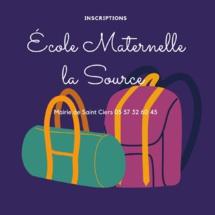 """Inscriptions école maternelle""""La Source"""""""