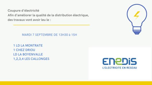 Coupure électrique - le 7 septembre 2021