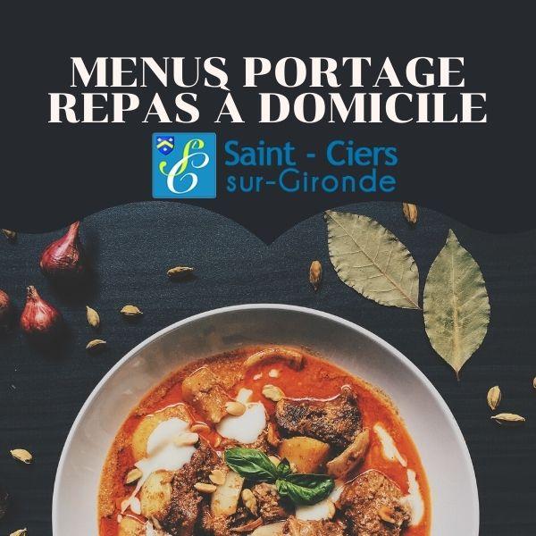 Menu du service de portage de repas à domicile septembre 2020