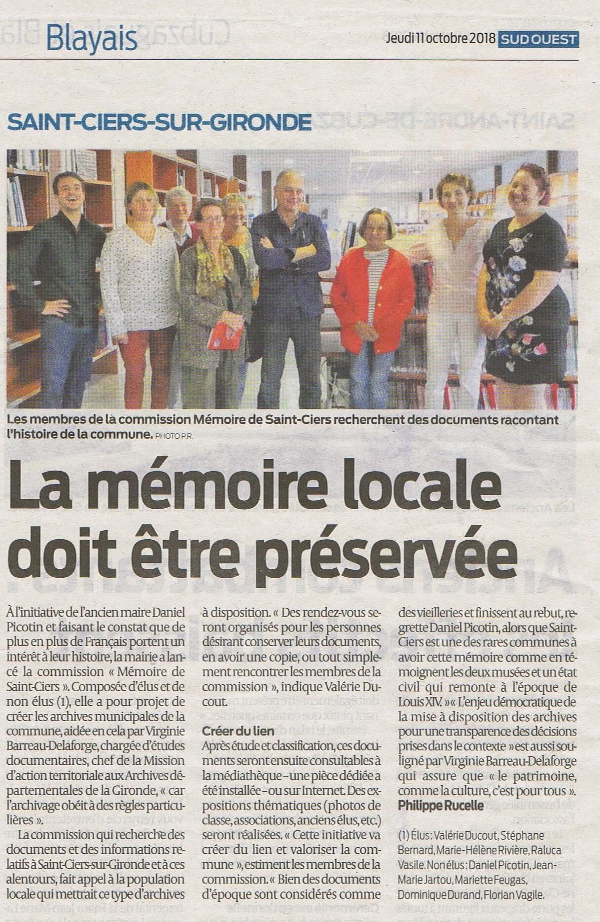 La Mémoire s'archive et se partage à Saint Ciers Sur Gironde