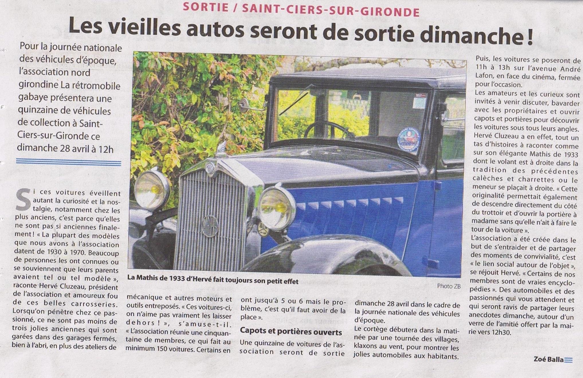 Exposition de voitures anciennes le dimanche 28 Avril