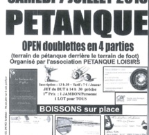7 Juillet 2018 - Pétanque - OPEN doublettes en 4 parties