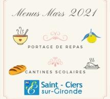 menu de la cantine et du portage de repas à domicile du mois de mars 2021